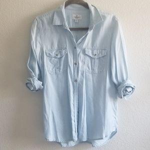 AE light blue button up shirt